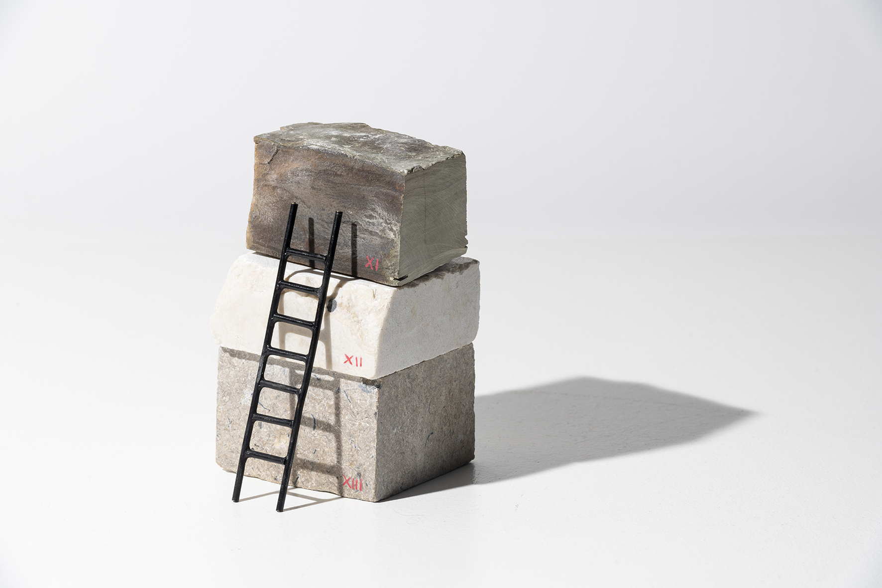 Stack Sample II-IX, 2019, marble and patinated bronze rel=