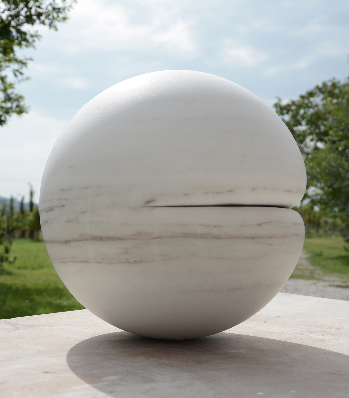 In the Flesh II, 2015, Marble (Bianco Cevedale), 42cm diameter rel=