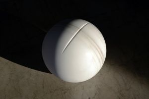 In the Flesh V, 2016, Marble (Bianco Cevedale), 40cm diameter