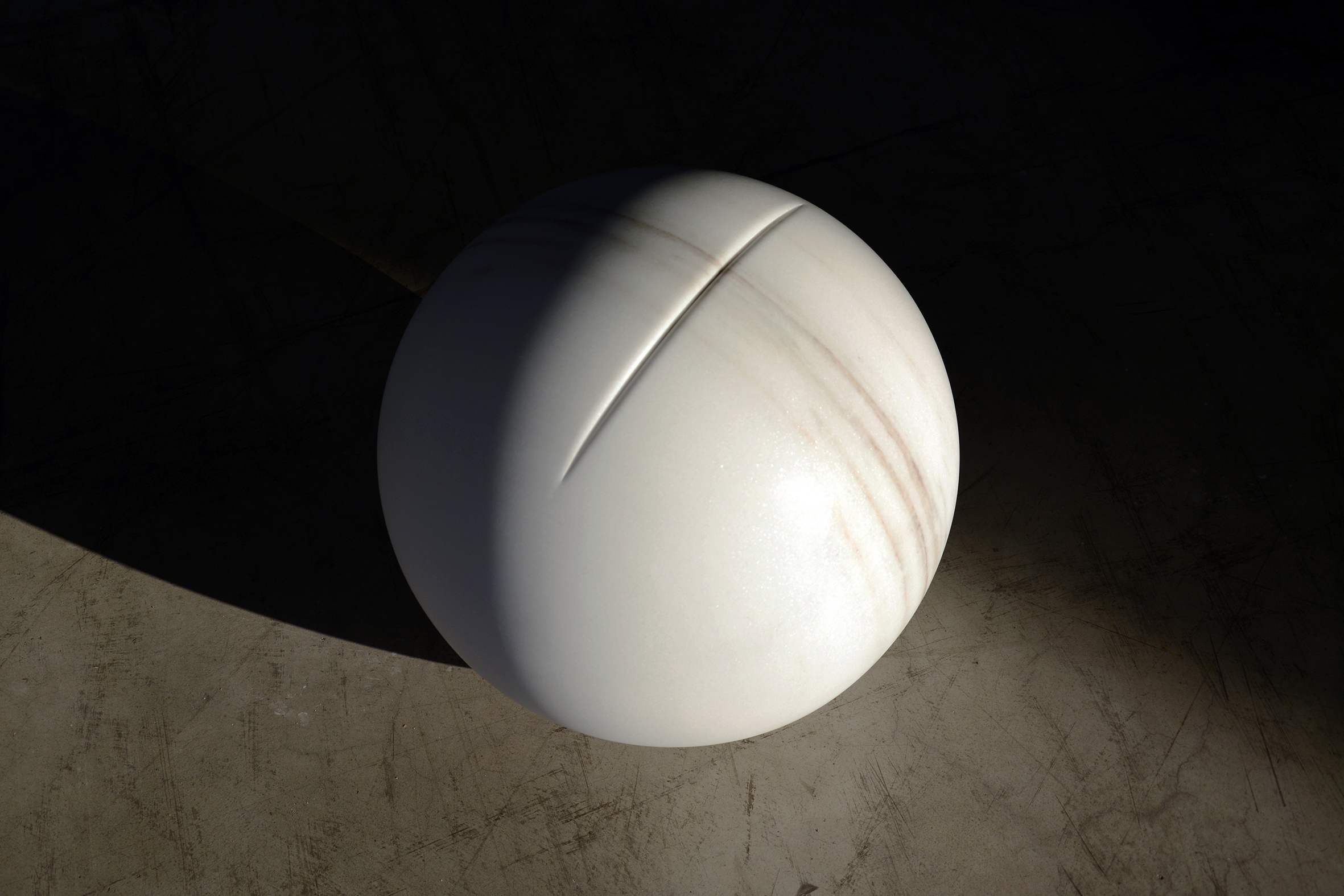 In the Flesh V, 2016, Marble (Bianco Cevedale), 40cm diameter rel=