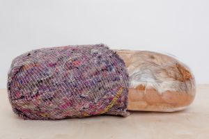 Mother in Child, 3320gms, 50cm, vintage fur, glass, pillow filler, transit blanket