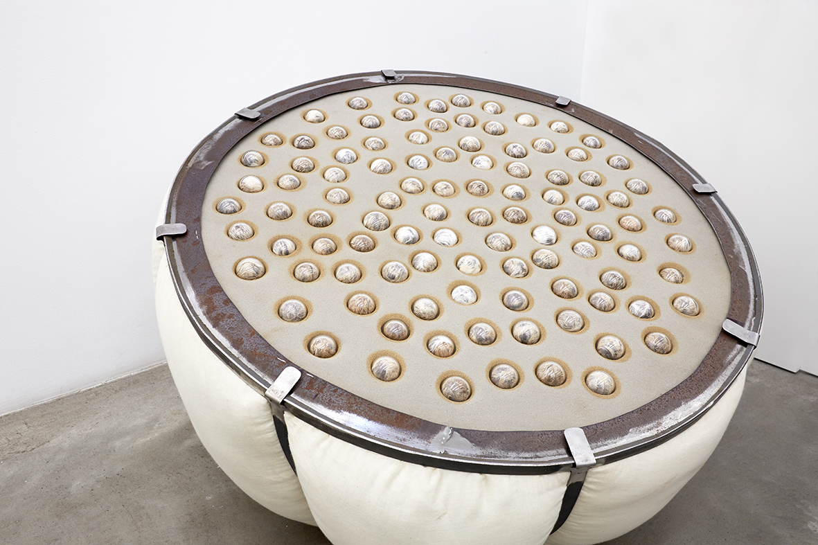Seedpod, 2015, 101 seeds made of vintage fur, handblown glass, engraved aluminium plates, pillow filler, steel and muslin fabric, 90cm diameter x 60cm high rel=
