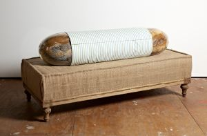 The Body, 182 x 86 x 76cm, vintage fur, handblown glass, metal, pillow filler, fabric, nametag on ottoman