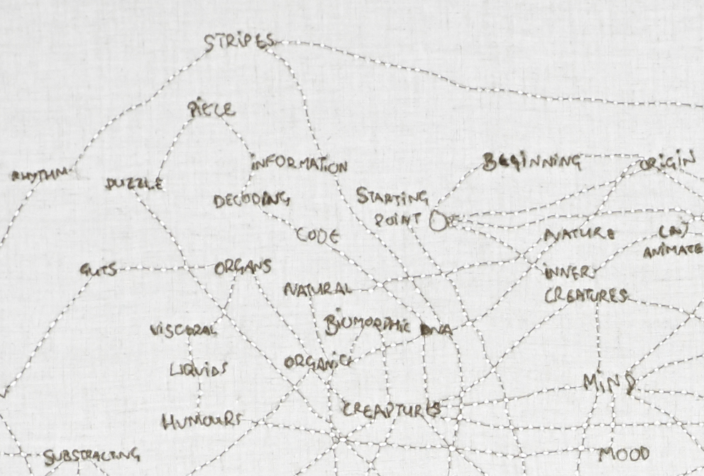 Home Mindmap, 2014. Embroidered fabric on lightbox. 133x99cm. Sewing and turning mental threads into physical threads. rel=